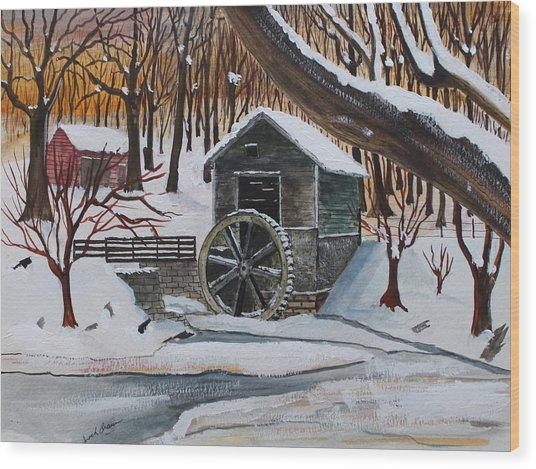 Frozen Water Wheel Wood Print