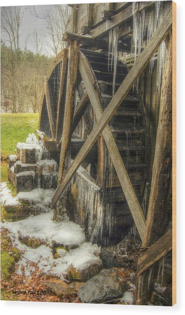 Frozen Water Wheel Wood Print