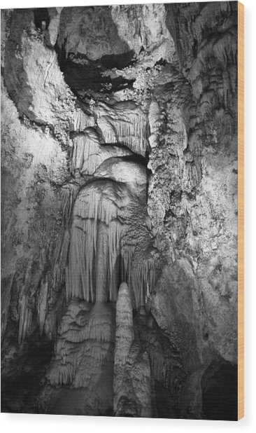 Frozen Waterfall In Carlsbad Caverns Wood Print