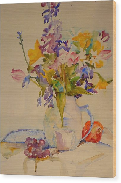 Fruit And Flowers Wood Print by Valerie Lynch