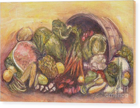 Fruit And Veggie Basket Wood Print by Jodie  Scheller