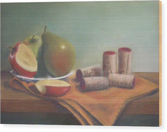 Fruit And Wine Corks Wood Print by Ellen Minter