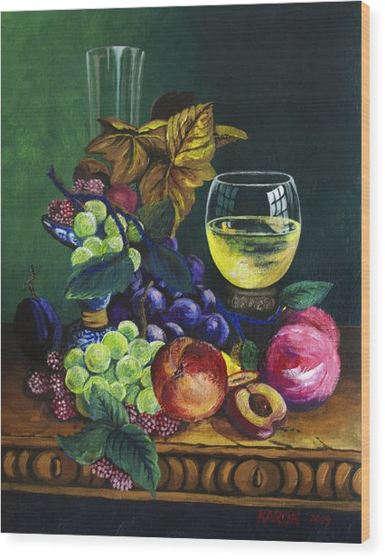 Fruit And Wine Wood Print