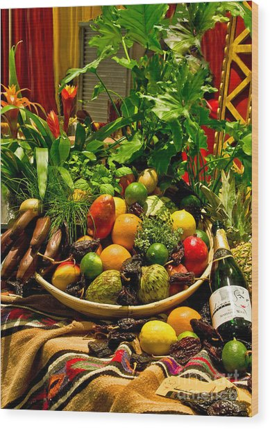Wood Print featuring the photograph Fruit And Wine by Mae Wertz