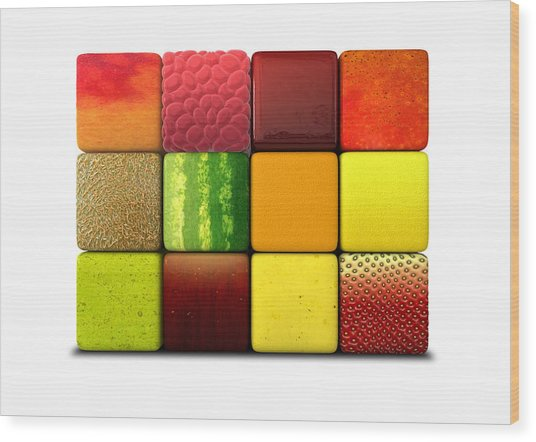 Fruit Cubes Wood Print