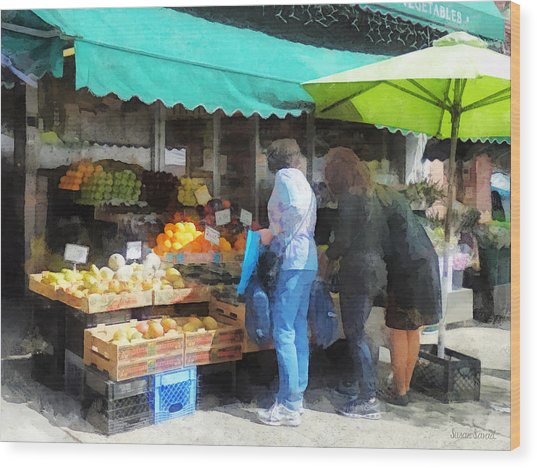 Fruit For Sale Hoboken Nj Wood Print by Susan Savad