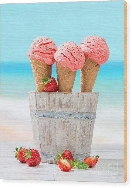 Fruit Ice Cream Wood Print