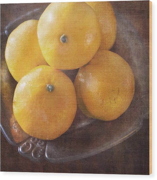 Fruit Still Life Oranges And Antique Silver Wood Print