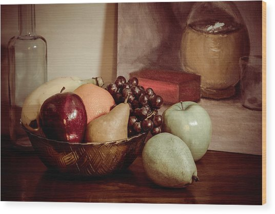 Fruit With Painting Wood Print