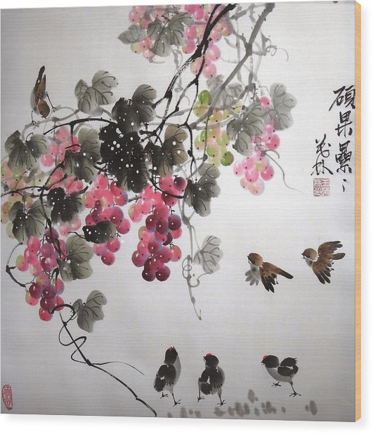 Fruitfull Size 4 Wood Print by Mao Lin Wang