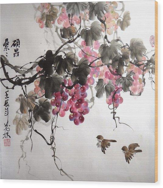 Fruitfull Size 5 Wood Print by Mao Lin Wang