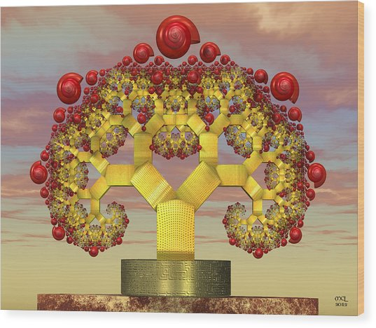 Fruiting Pythagoras Tree Fractal Wood Print