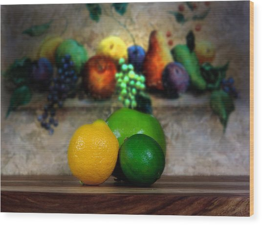 Fruits Galore Wood Print by Cecil Fuselier