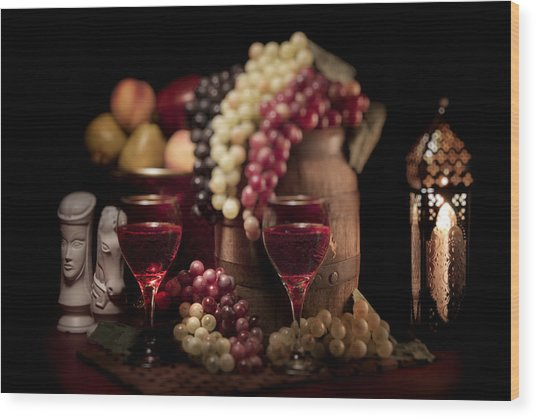 Fruity Wine Still Life Wood Print