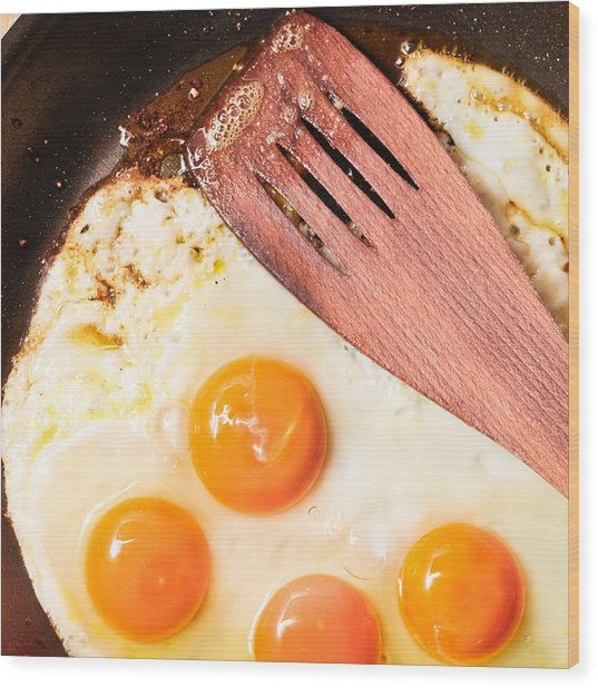 Frying Eggs Wood Print