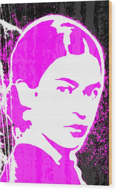 Wood Print featuring the mixed media Fuchsia Frida by Michelle Dallocchio