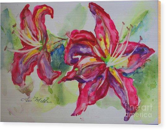 Fuchsia Lilies Wood Print by Terri Maddin-Miller
