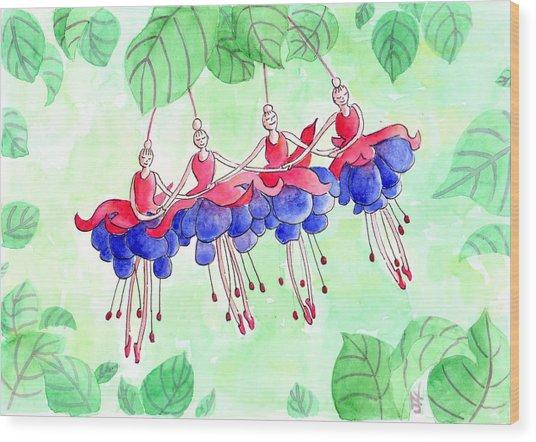 Fuchsia Pas De Quatre Wood Print by Julie  Hutchinson