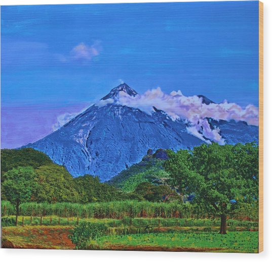 Wood Print featuring the painting Fuego Volcano Guatamala by Deborah Boyd