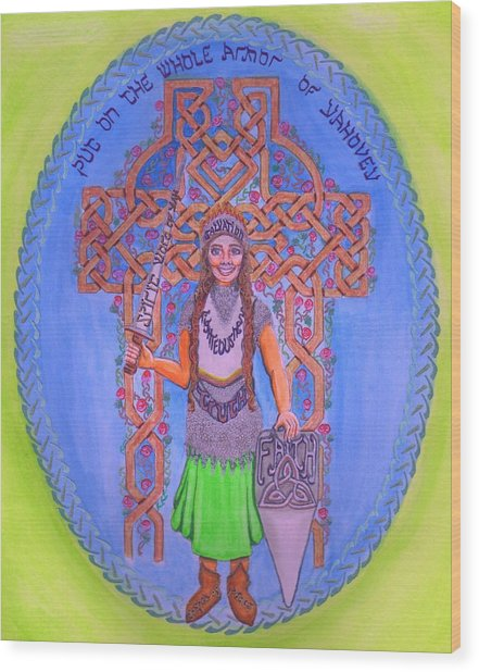Full Armor Of Yhwh Woman Wood Print
