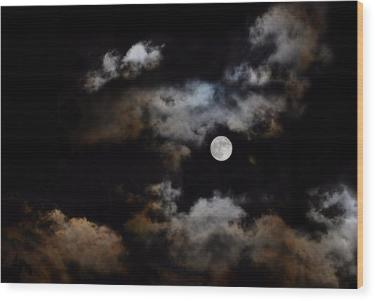 Full Moon After The Storm Wood Print