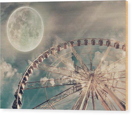 Full Moon And Ferris Wheel Wood Print