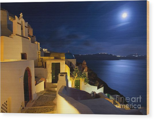 Full Moon At Santorini Wood Print