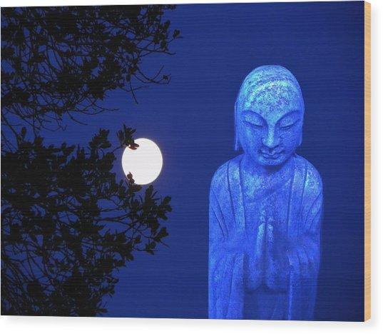 Full Moon Buddha Wood Print