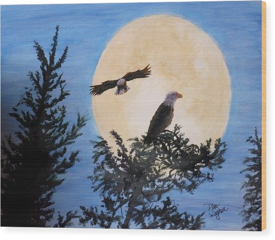 Full Moon Eagle Flight Wood Print