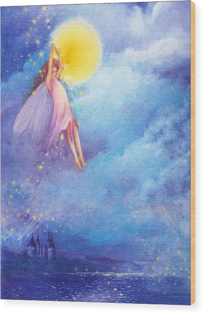 Full Moon Fairy Nocturne Wood Print