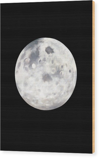 Full Moon In Black Night Wood Print