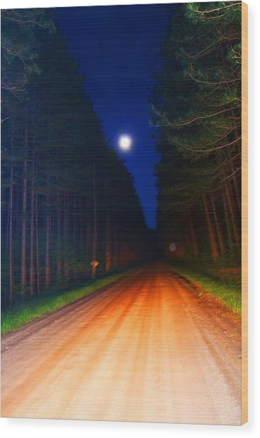 Full Moon In Forest Wood Print by Valarie Davis