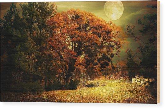 Full Moon Oak Wood Print