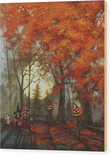 Full Moon On Halloween Lane Wood Print