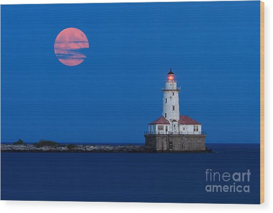 Full Moon Over Chicago Harbor Lighthouse Wood Print