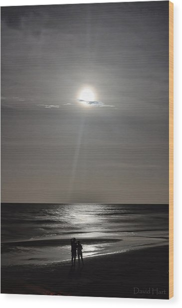Full Moon Over Daytona Beach Wood Print