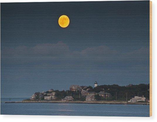 Full Moon Over East Chop Wood Print
