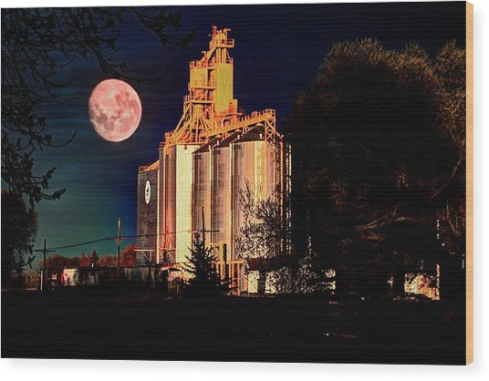 Full Moon Over Elevator Wood Print
