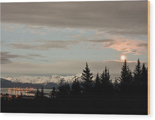 Full Moon Over Homer Alaska Wood Print