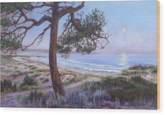 Full Moon Over Pebble Beach Wood Print