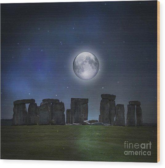 Full Moon Over Stonehenge Wood Print