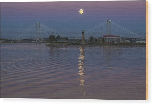 Full Moon Over The Cable Bridge Wood Print