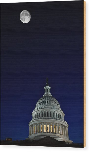 Full Moon Over Us Capitol Wood Print