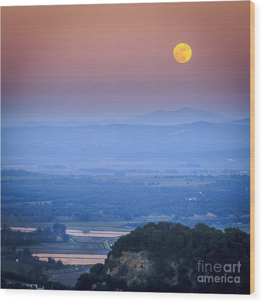 Full Moon Over Vejer Cadiz Spain Wood Print