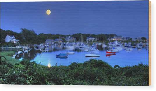 Full Moon Over Wychmere Harbor Wood Print by Ken Stampfer