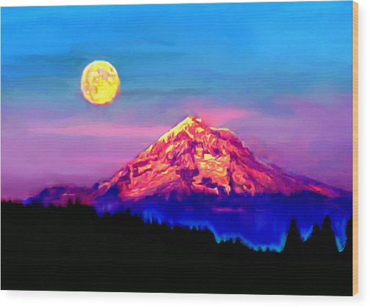Full Moon Rising Over Mount Hood Oregon Wood Print