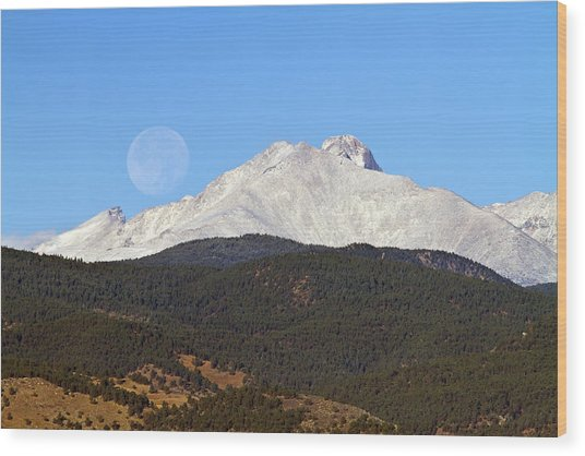 Full Moon Setting Over Snow Covered Twin Peaks  Wood Print