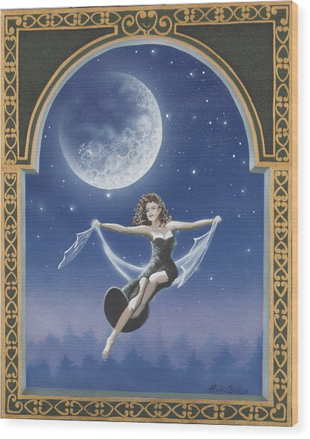 Full Moon Swing Wood Print by Nickie Bradley