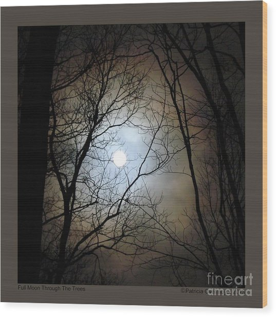 Full Moon Through The Trees Wood Print