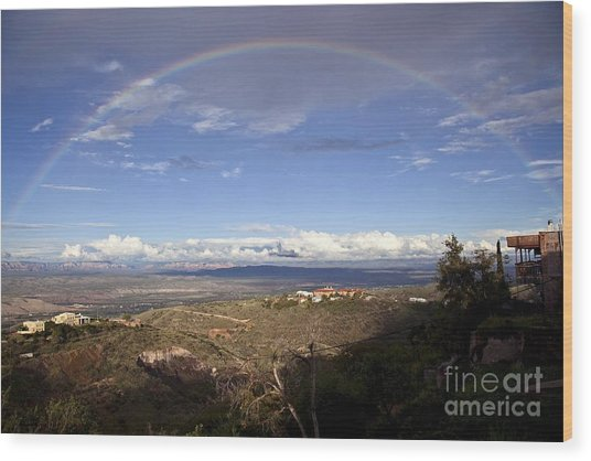 Full Rainbow Over Jerome Wood Print